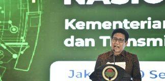 Menteri Desa PDTT RI, Abdul Halim Iskandar saat sambutan Acara Puncak Gelar Teknologi Tepat Guna (TTG) di Jakarta, Indonesia