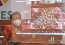 Rapat Virtual Mendesa PDTT RI, Abdul Halim Iskandar dalam Business Meeting Lada Belitong, DKI Jakarta, Indonesia. Foto : Kemendesa PDTT RI