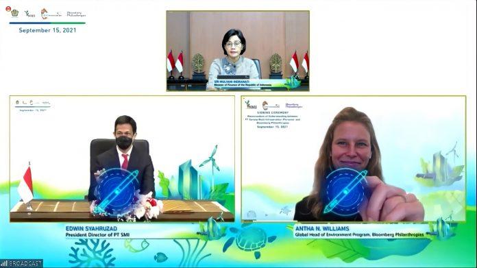 MoU PT SMI dan Bloomberg Filantrofi terkait kerjasama Transisi Indonesia Energi Bersih. Foto : Kementerian Keuangan RI